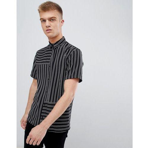short sleeved shirt in black with stripes - black marki Bershka