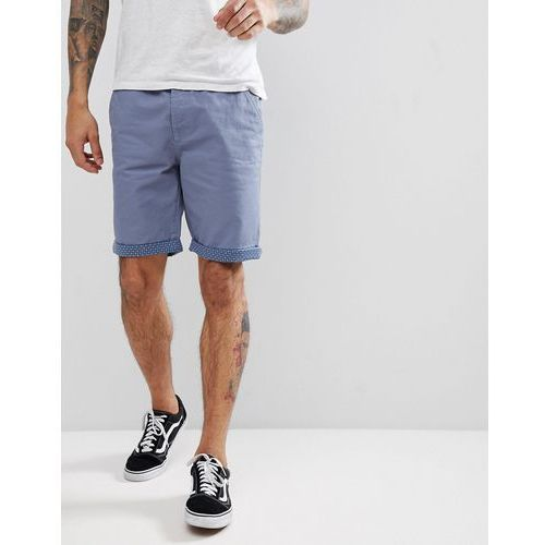 summer peached twill geo turn up shorts - blue, Threadbare