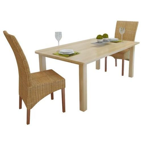 Krzesła do jadalni rattanowe, brązowe, 2 szt., kolor brązowy