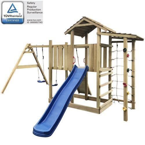 Plac zabaw ze zjeżdżalnią, drabinką i huśtawkami, drewniany marki Vidaxl