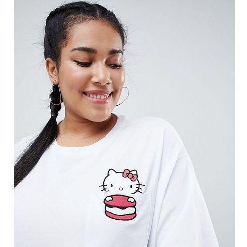Hello Kitty x ASOS DESIGN Curve oversize t-shirt with peeping macaroon motif - White, 1 rozmiar