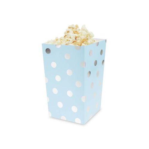 Pudełka na popcorn błękitne w srebrne groszki - 4 szt., #A1130^c