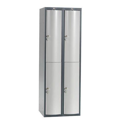 Szafa szatniowa curve 2 sekcje 4 drzwi 1740x600x550 mm jasnoszary metal marki Aj