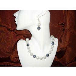 N-00011 Naszyjnik z perełek szklanych, białych i popielatych
