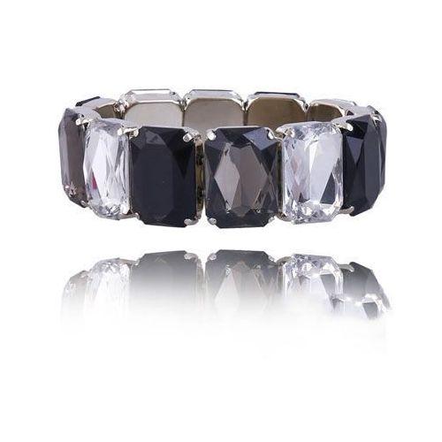 Bransoletka z kryształków w trzech kolorach, kolor czarny