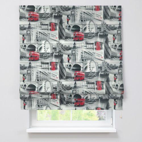roleta rzymska padva, szare motywy londynu, szer.80 x dł.170 cm, comics marki Dekoria