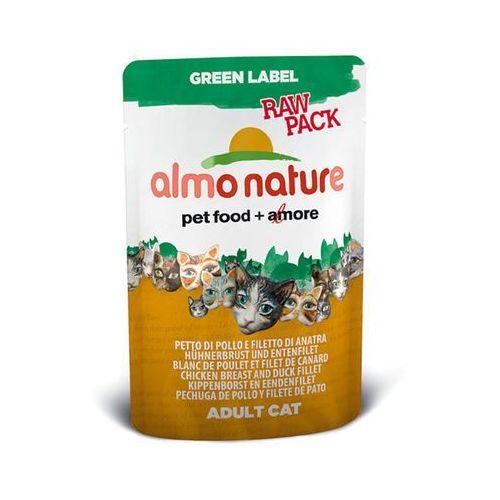 ALMO NATURE Green Label Raw Filety z kurczaka i kaczki - saszetka 12x55g