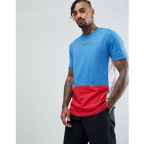 longline t-shirt with colour block panelling and city tex - blue, Asos, XXS-XS