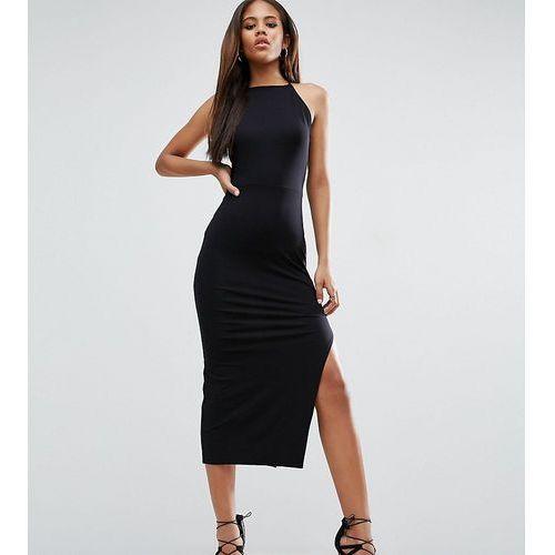 ASOS TALL Halter Strappy Back Midi Dress - Black, kolor czarny