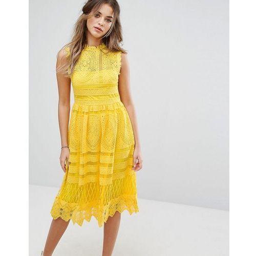 Boohoo  lace midi skater dress - yellow