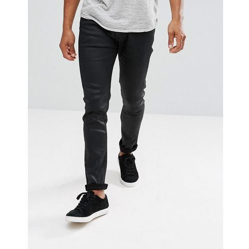 Stradivarius Coated Skinny Jeans In Black - Black, kolor czarny