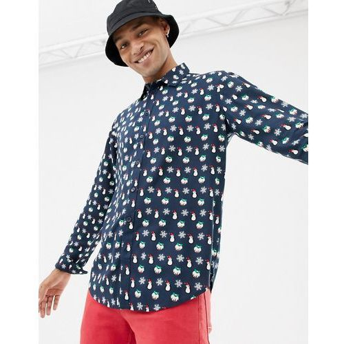 christmas pattern long sleeve shirt - navy marki Another influence