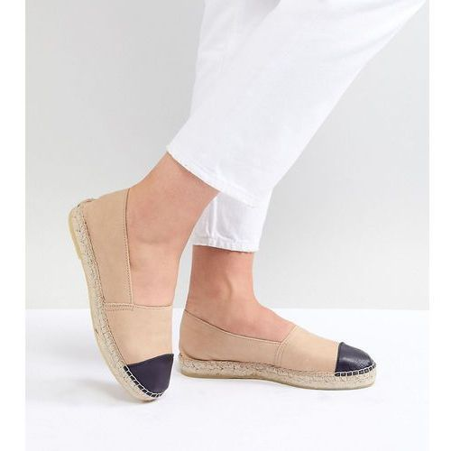 wide fit leather toe cap espadrilles - beige, Park lane