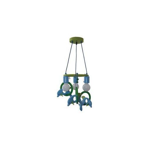 Prezent Lampa wisząca delfin 3xe27/60w/230v niebieski/zielony