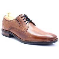 311-584024-100 koniak - wizytowe buty marki Bugatti