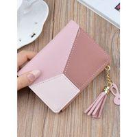 Różowy portfel kolory cieniowany chwościk i brelok