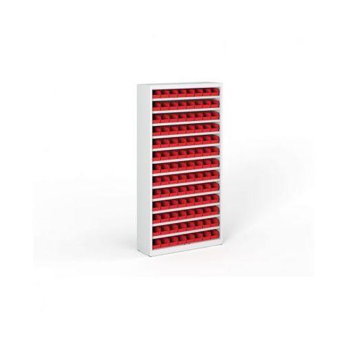 Regał z plastikowymi pojemnikami - 1800x920x300 mm, 104x boks A