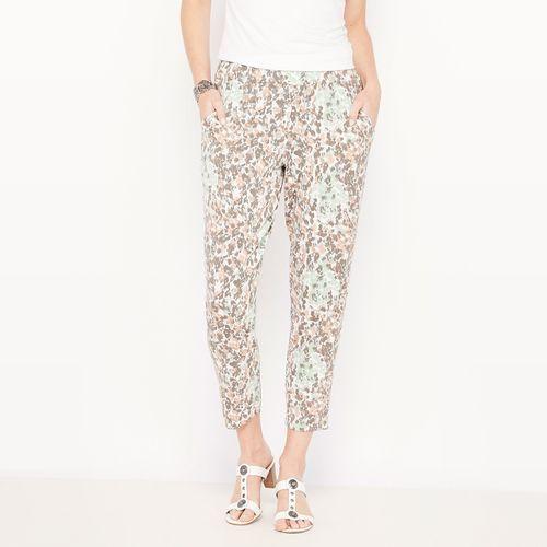 Spodnie wzorzyste, nogawki 7/8, lejąca się dzianina, spodnie damskie ANNE WEYBURN