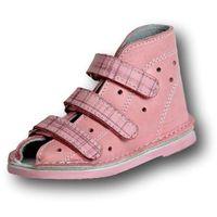profilaktyczne buty wzór 014nm róż kratka skóra licowa marki Adamki