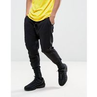 New look drop crotch panelled jogger in black - black