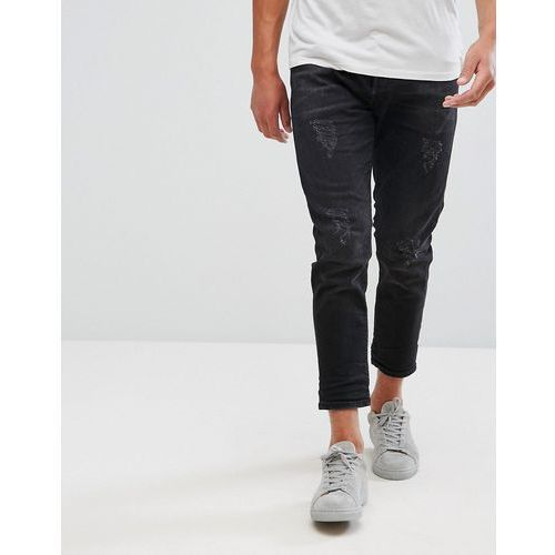 + jeans in tapered fit with cropped leg and distressing - black, Selected homme