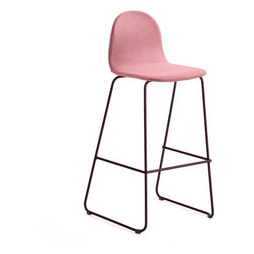Krzesło barowe GANDER, płozy, siedzisko 790 mm, tkanina, ciemnoczerwony