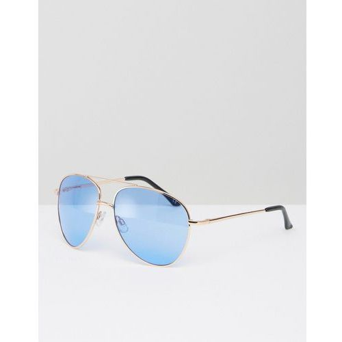 ASOS Metal Aviator Sunglasses With Top Bar In Gold With Blue Coloured Lens - Gold