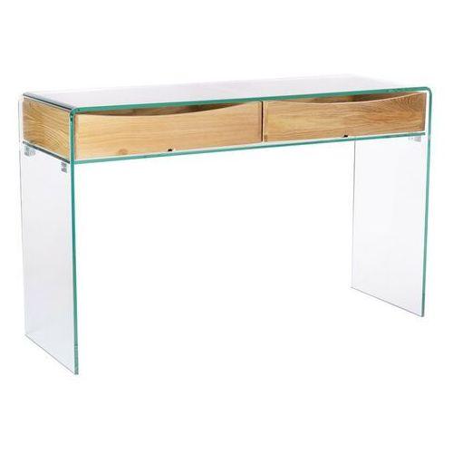 Konsola szklana CASSETTO - szkło transparentne, dębowe szuflady