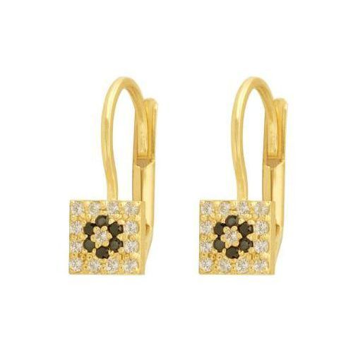 Lovrin Kolczyki złote 585 w kształcie kwadratu z białymi i czarnymi cyrkoniami