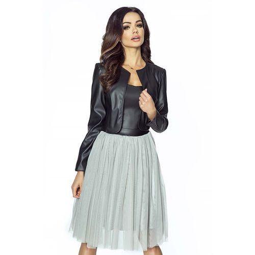 Kartes moda Eleganckie czarne skórzane bolerko