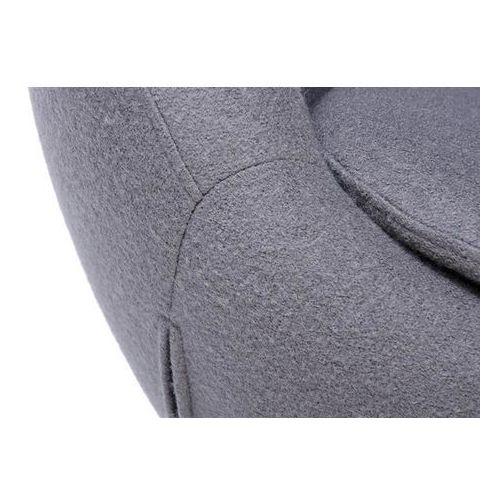 Fotel tapicerowany JAJO EGG SZEROKI z podnóżkiem szary.18 - wełna, podstawa stal, HE-066+OTTO.18 (9998819)
