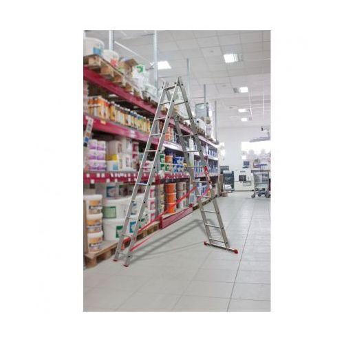 Dwuczęściowa drabina aluminiowa wielofunkcyjna, 2x7 stopni, 3 m