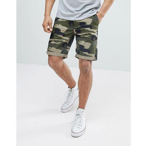 D-struct turn up camo print chino shorts - green