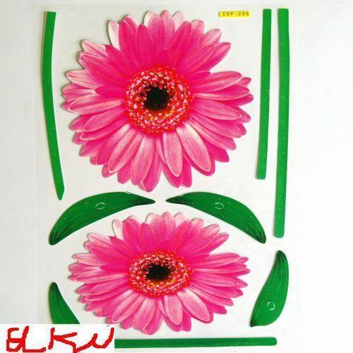 NAKLEJKA NAKLEJKI ŚCIANA MEBLE-3 D gerbery róż