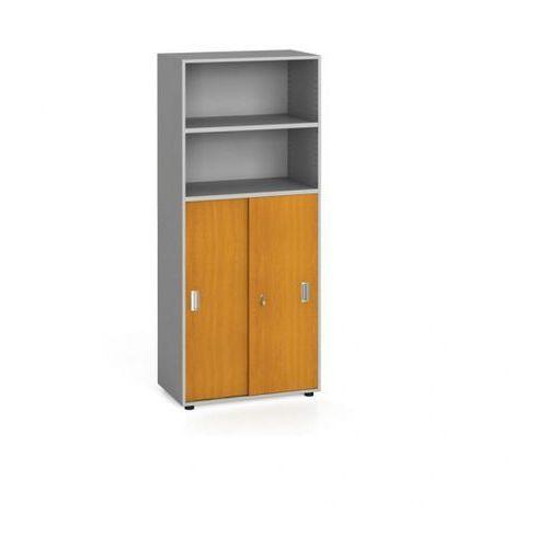 Szafa biurowa, przesuwne drzwi na 3 półki, 1781 x 800 x 420 mm, czereśnia