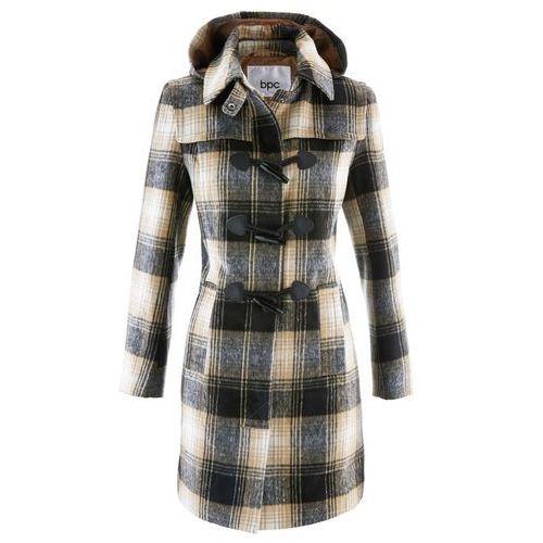 Płaszcz z kapturem bonprix beżowy w kratę, kolor beżowy