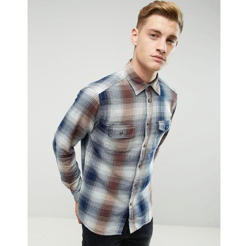 Esprit Shirt In Regular Fit In Heavy Check Cotton - Navy, bawełna