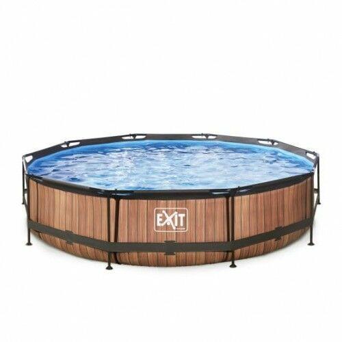 Exit Basen wood brązowy okrągły 360 cm składany + pompa filtrująca