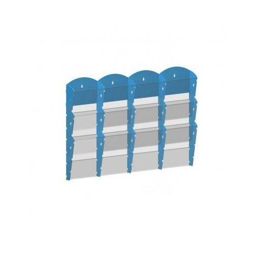 Plastikowy uchwyt ścienny na ulotki - 4x3 a5, niebieski marki B2b partner