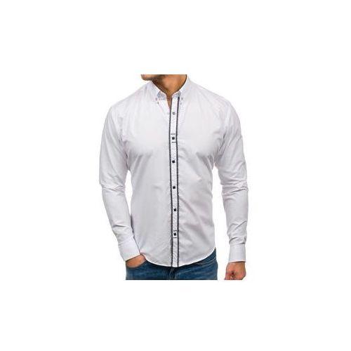 Koszula męska elegancka z długim rękawem biała 7721, Bolf