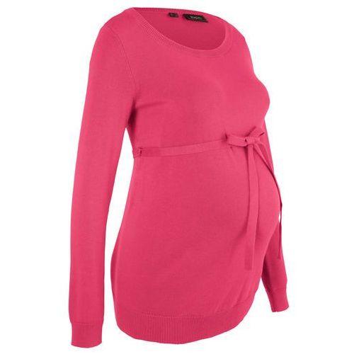 Sweter ciążowy z 100% bawełny, z wiązanym paskiem bonprix czerwień granatu, w 6 rozmiarach