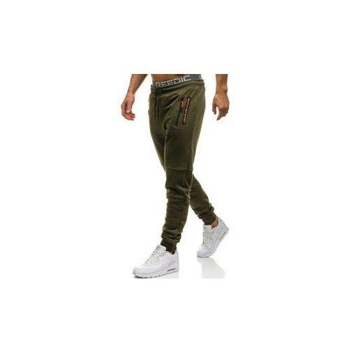 Spodnie męskie dresowe joggery khaki Denley 1607