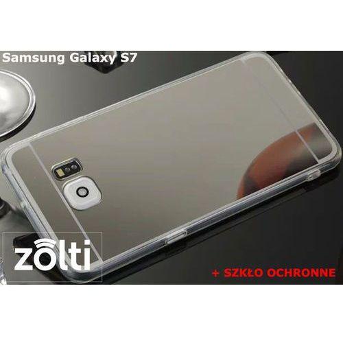 Zestaw   Slim Mirror Case Srebrny + Szkło ochronne Perfect Glass   Etui dla Samsung Galaxy S7 (Futerał telefoniczny)