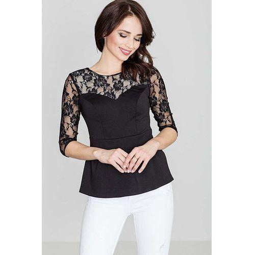 Elegancka czarna bluzka baskinka z dodatkiem koronki marki Katrus