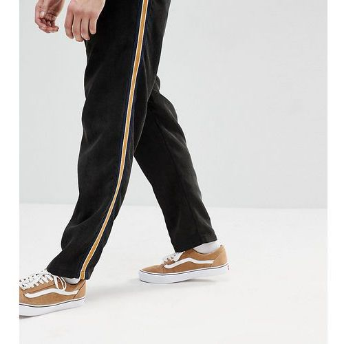Reclaimed vintage inspired black cropped cord trouser with tape detail - black