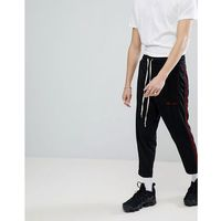 skinny joggers with side velvet stripe - black, Mennace, L-XL
