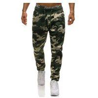 Spodnie męskie dresowe joggery moro-zielone denley 4559, Nature