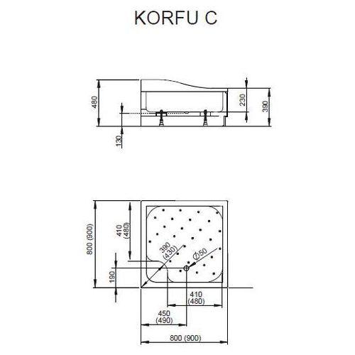 Brodzik kwadratowy akrylowy z obudową korfu c 80x80x37 - 4c88400-03 marki Radaway