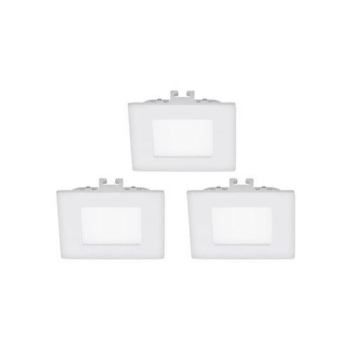 Oczko lampa sufitowa fueva 1 94733 podtynkowa oprawa led 3w kwadratowy wpust komplet 3 szt. biały marki Eglo