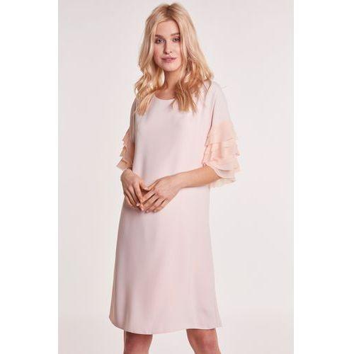 Margo collection Morelowa sukienka z falbankami